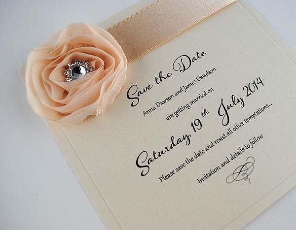 Save the Date - Ivory Diamond Rose Design
