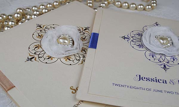Antique Pearl Wedding Invitation