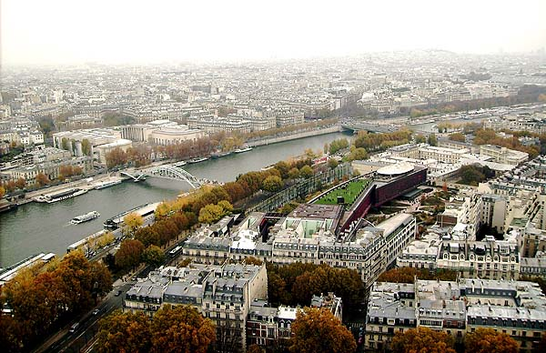 View from the mid way point of the Eiffel Tower (2008)
