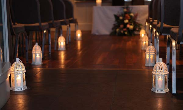 Candle Lit Aisle at Great John Street Hotel, Manchester
