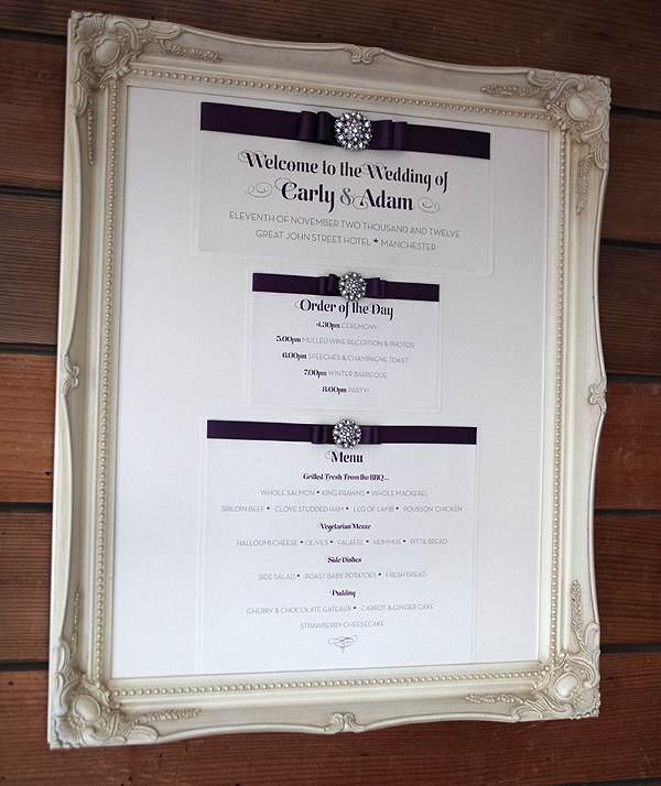 Framed Wedding Menu
