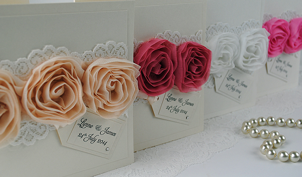 Vintage Rose Wedding Invitations - with lace and roses