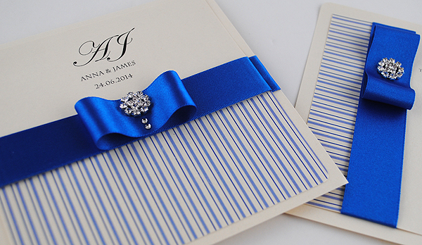 Coco Mono Wedding Invitation in Royal Blue