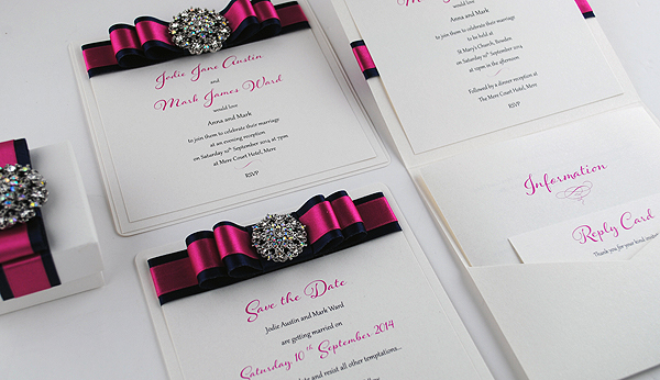 Paris in Fuchsia and Navy - Flat Invitation, Save the Date & Pocketfold
