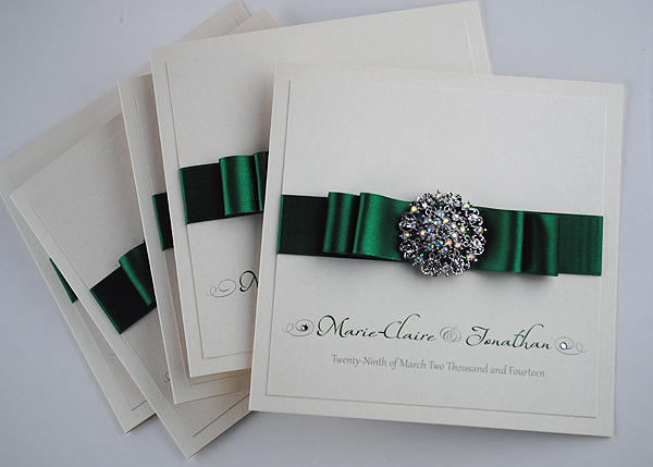 Emerald Green 'Paris' Wedding Invitations