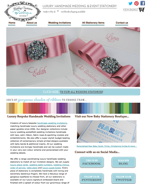 New look website - www.weddinginvitationboutique.co.uk