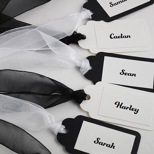 Black and White Eros Place Cards