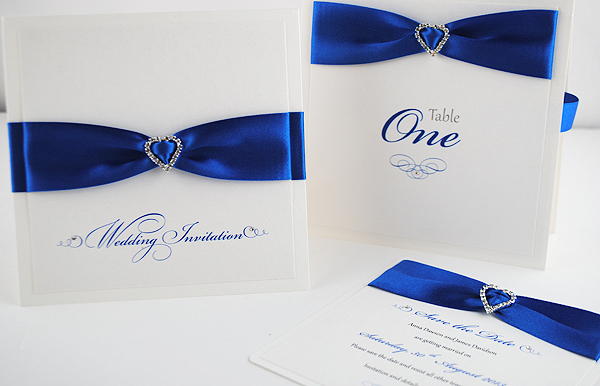 Diamonte Collection in Royal Blue: Wedding Invitation, Table Number & Save the Date
