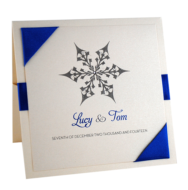 Snow Maiden Pocketfold Wedding Invitation in Royal Blue