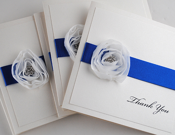 Diamond Rose Thank You Cards in Royal Blue