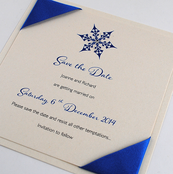 Snow Maiden Save the Date in Royal Blue