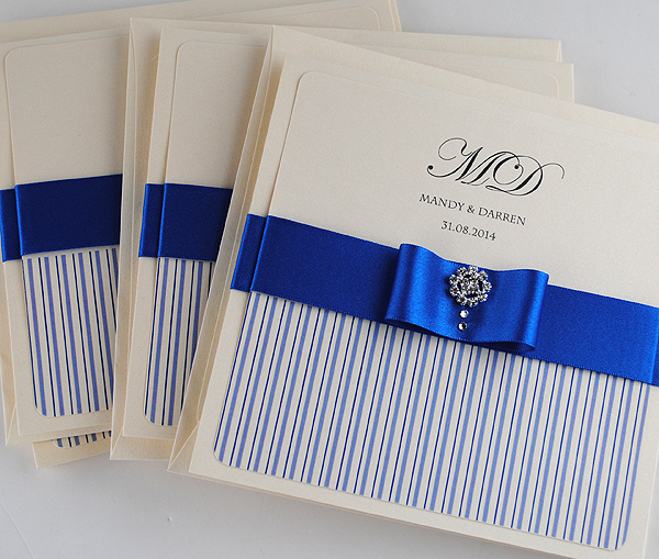 Coco Mono Wedding Invitations in Royal Blue