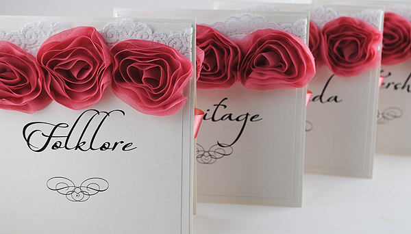 Vintage Rose Table Names in Duksy Pink