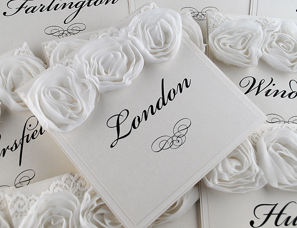 Vintage Rose Table Names in White
