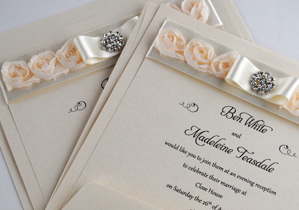 French Rose one piece invitations in Ivory