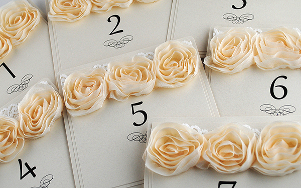 Vintage Rose Table Numbers in Ivory