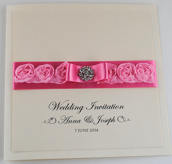 French Rose Hot Pink Invitation