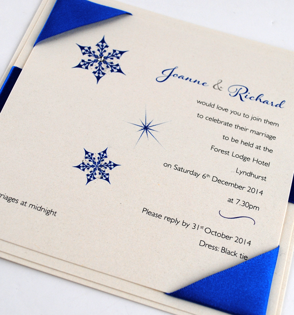 Snow Maiden Wedding Invitation in Royal Blue
