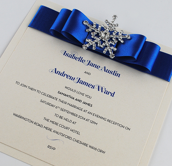 Snow Queen Wedding Invitation in Royal Blue
