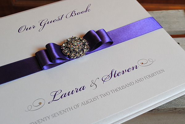 Paris Guest Book in Cadbury Purple