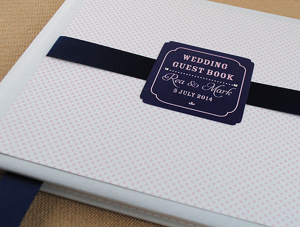 Monroe Guest Book in Pink Polka Dot and Navy