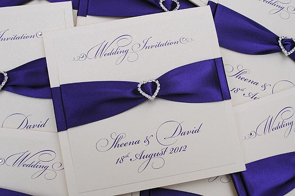Wedding Invitation Card Handmade: Pocketfold Wedding Invitations - Diamonte