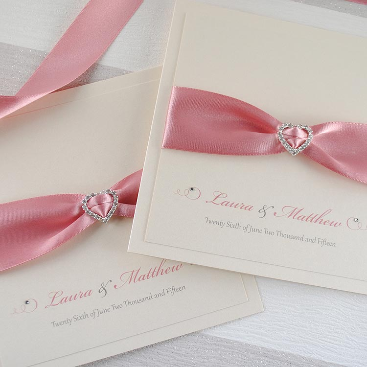 Luxury Handmade Wedding Invitation with Diamonté Heart