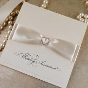 Ivory Diamonté Pocketfold Wedding Invitation