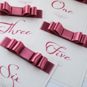 Wedding table number with dusky pink bow
