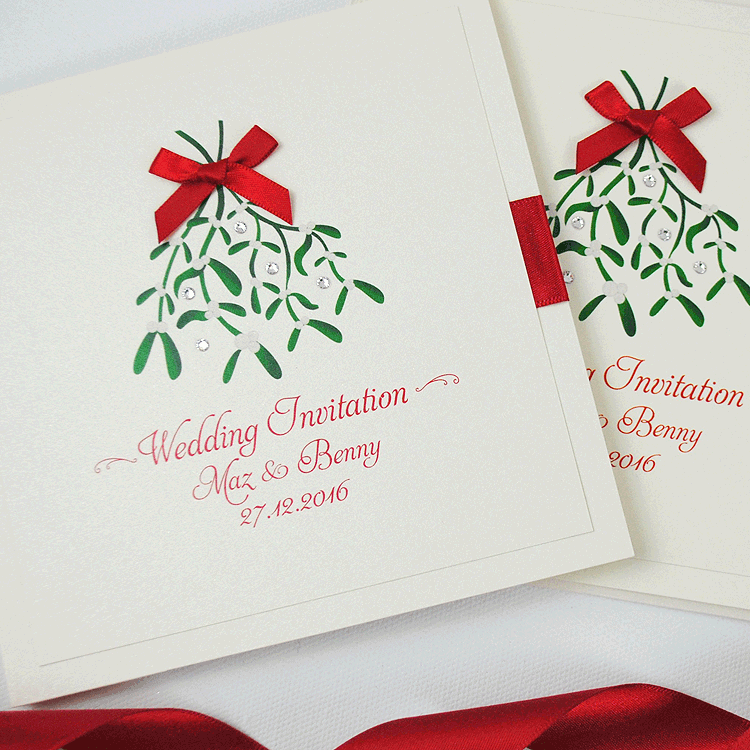 Christmas Wedding Invitations.Christmas Handmade Wedding Invitations With Mistletoe