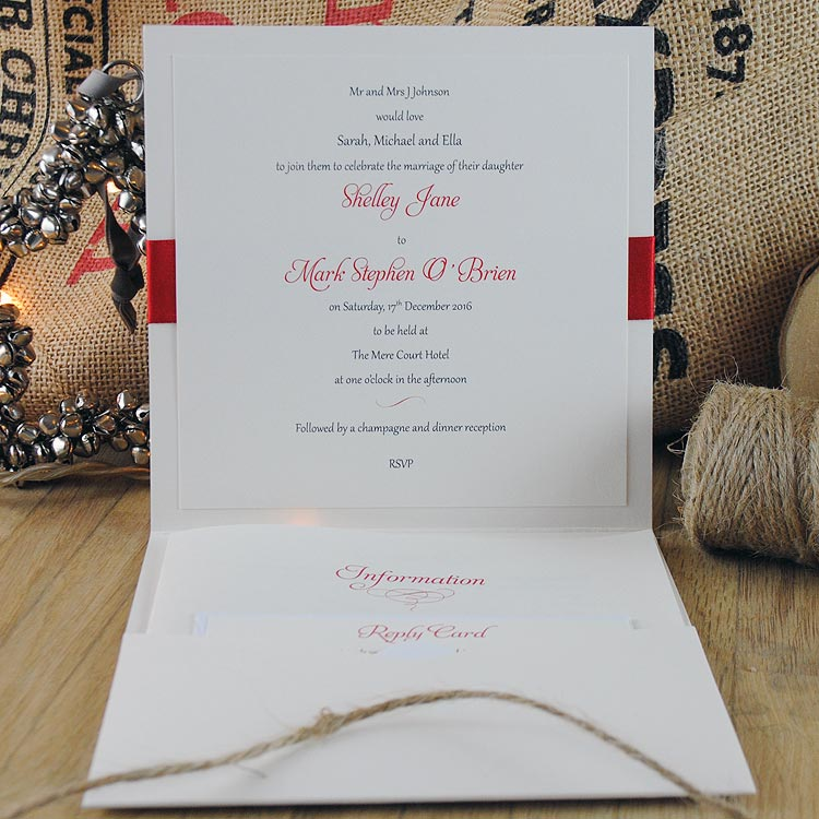 Inside of Christmas Wedding Invitation