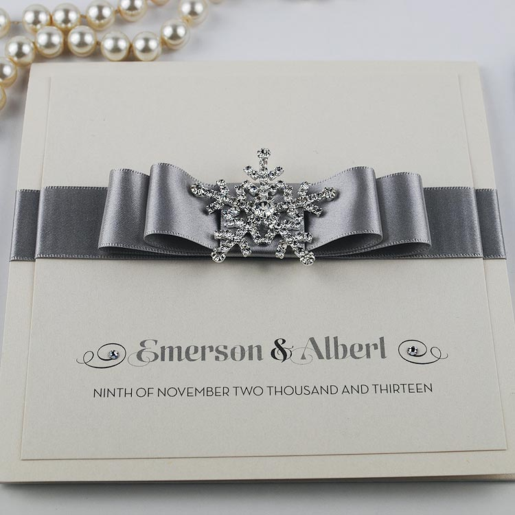 Snow Queen Wedding Invitation in Silver