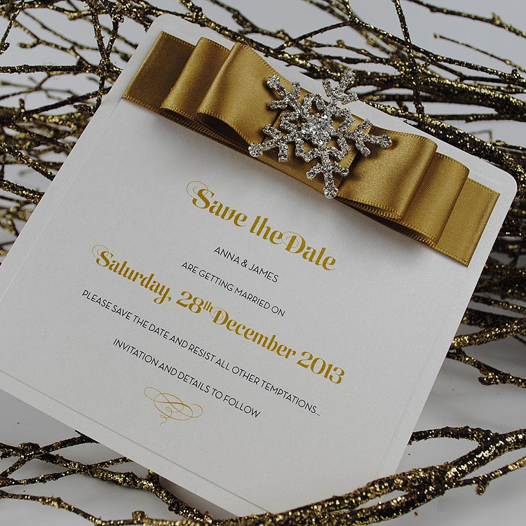 Snow Queen save the date in gold