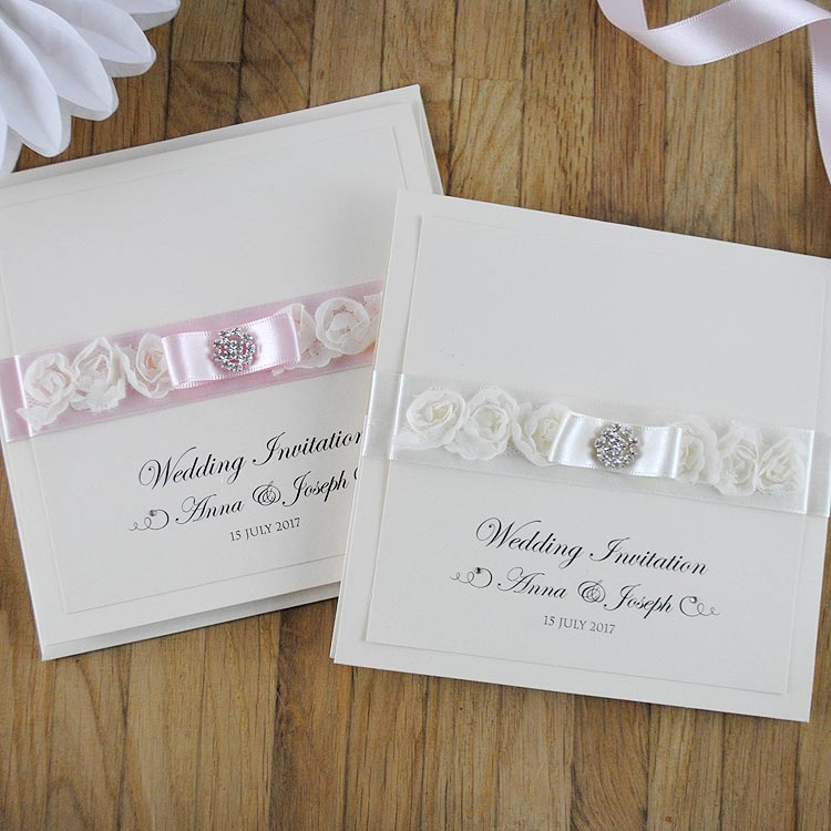 Luxury Handmade Wedding Invitations with Beautiful Roses