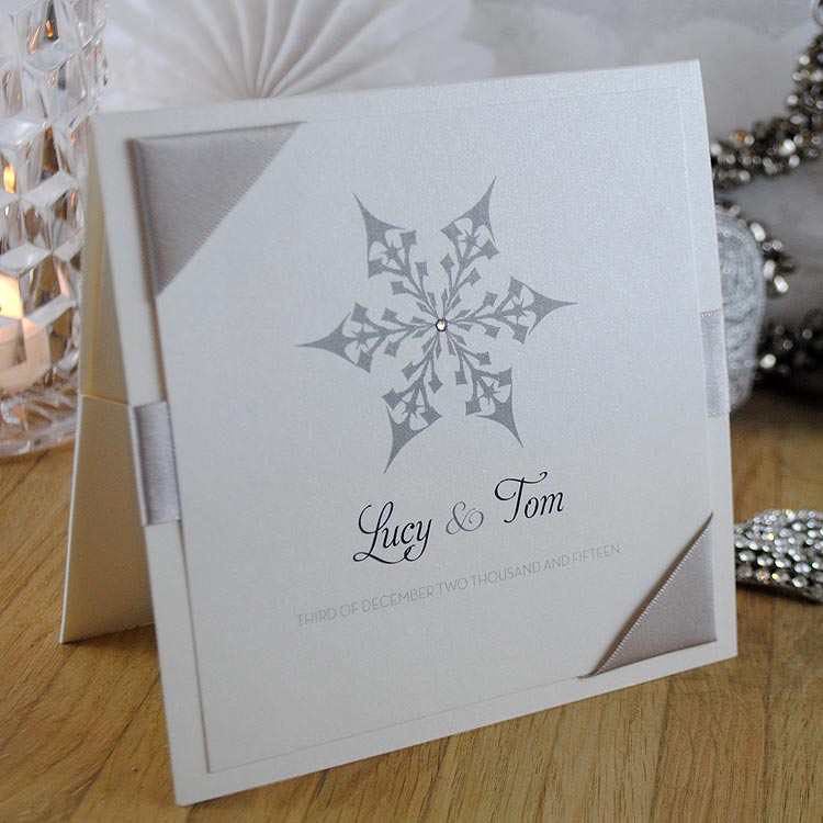 snowflake festive winter handmade wedding invitations