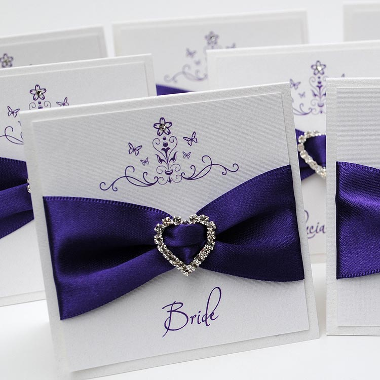Mademoiselle Place Card in Cadbury Purple - Wedding Invitation Boutique