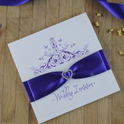 Mademoiselle Wedding Invitation in Cadbury Purple
