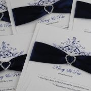 Mademoiselle Wedding Invitation in Navy