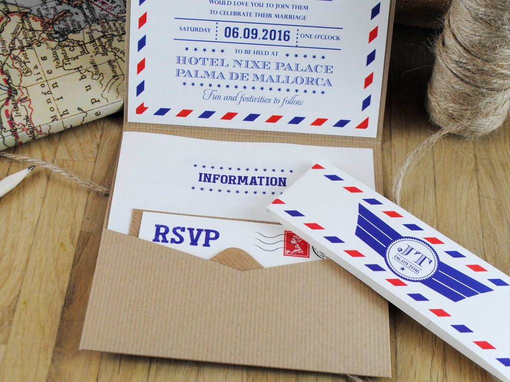 Inside of Airmail Wedding Invitation