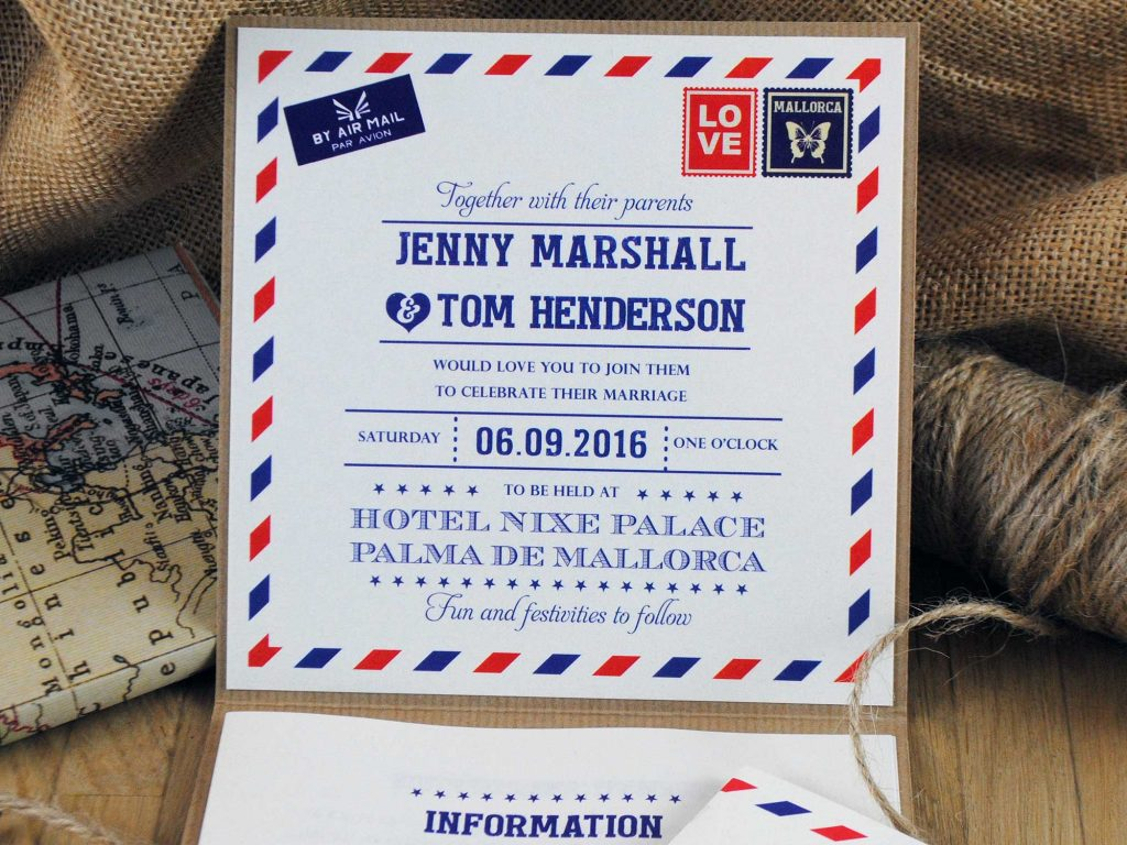 Airmail Pocketfold Wedding Invitation