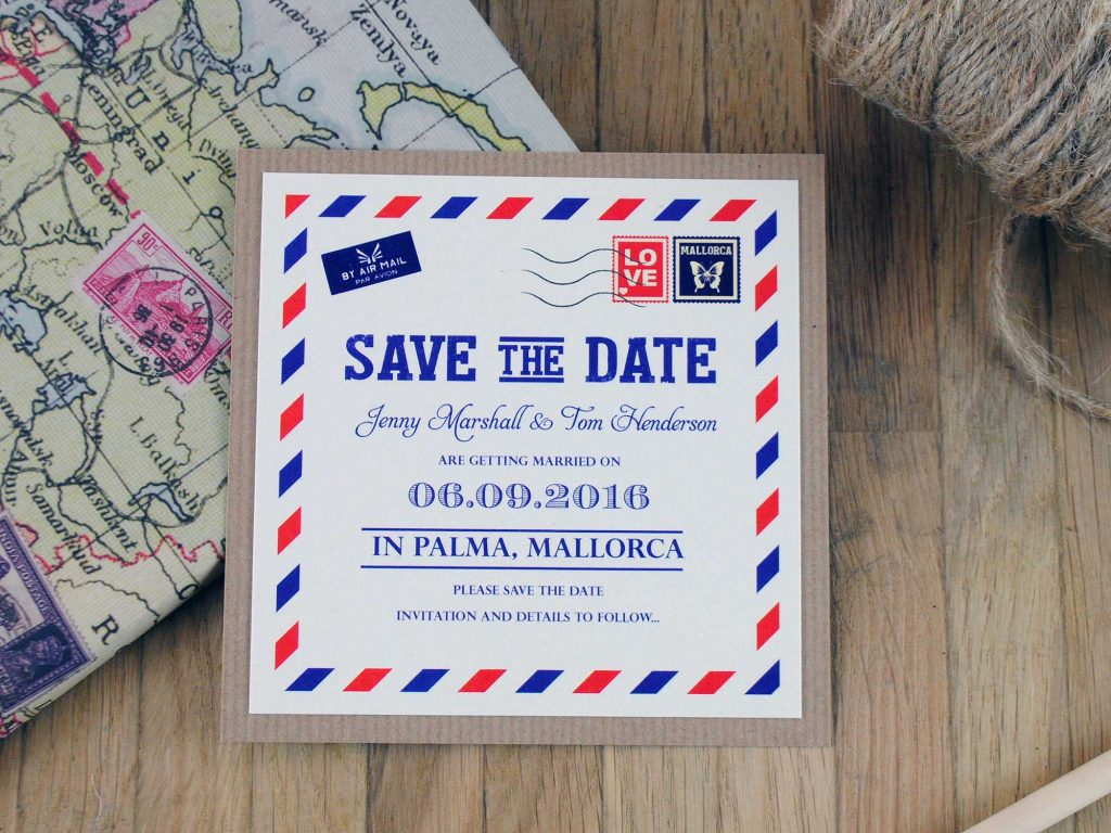 Airmail Save the Date Card