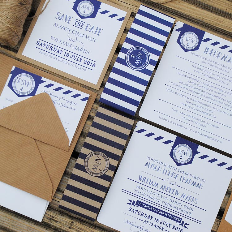 nautical luxury handmade wedding invitations with anchor