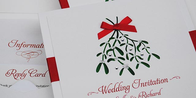 Christmas Wedding Invitation with Mistletoe
