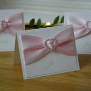 Wedding Place Card with pink ribbon and heart