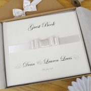 Wedding Guest Book with Ivory Bow