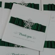 thank you card with green ribbon