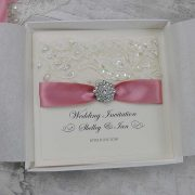 Beaded Lace Wedding Invitation in ivory and dusky pink
