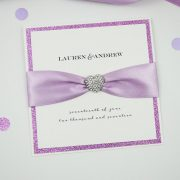 lilac sparkly heart wedding wedding invitation
