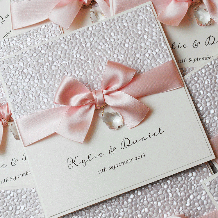 luxury handmade wedding invitation with drop crystal