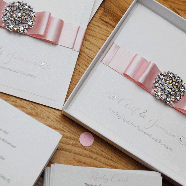 Luxury Handmade Wedding Invitation With Vintage Brooch